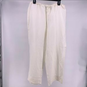 New York & Company White Linen Blend Beach Pants